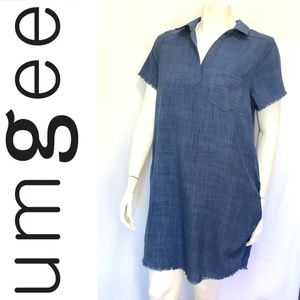 UMGEE Collared Shirt Dress Fray Hem Blue SIZE M
